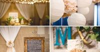 Vintage Rustic Weddin, fabric drapping and poof balls