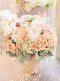 Peach and mint bouquet- LOVE this
