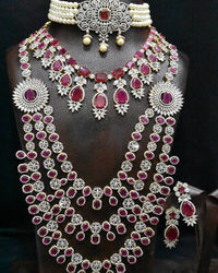 goergious american diamonds indian bridel set,one south sea pearl diamond finish choker , long & short necklace combo with 3 pairs earrings. $475.00
