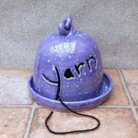 Yarn bell and plate knitting or crochet wool hand thrown pottery ceramic