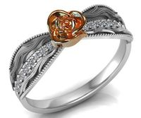 Two Tone Rose & White Flower Ring Promise Ring Unique Engagement Ring with Side Diamonds Floral ring Birthday Gift For Her Gift $959.30