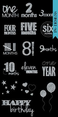 Chalk Overlays for Photographers - First Year, months, baby, infant growth chart chalkboard