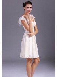 A-line Sweetheart pleated mini chiffon homecoming dress