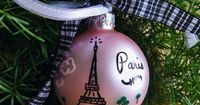 Eiffel Tower Ornament - Personalized Paris France Vacation Ornament - Handpainted Glass Ball Christmas Ornament