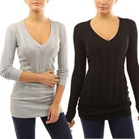 5 Colors Women's V Neck Ribbed Tunic Knit Long Sleeve Sweater Slim Tops Blouse $22.00