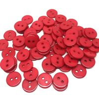 Pack of 100 Round Flat Round Red Resin Buttons. 11mm Plain Plastic Fasteners. Love & Valentine's Day £7.49