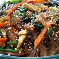 Chap Chee Noodles ~ A Korean-style noodle dish made with meat, vegetables, & bean thread noodles