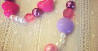 Necklace and Bracelet Set Purple Pink Pearl Heart