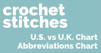Two super useful crochet charts: U.S. and U.K. crochet equivalents, and crochet stitches abbreviations for reading patterns.