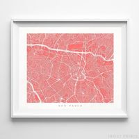 Sao Paulo, Brazil Street Map Horizontal Print by Inkist Prints - Available at https://www.inkistprints.com