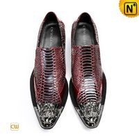 CWMALLS® Dubai Printed Leather Dress Shoes Red CW708201 [Patented Product, Personalized Gift]