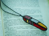 Stained Glass Pendant Paradise Bird's feather, from Lemuria or Iria, Feather Necklace $34.99