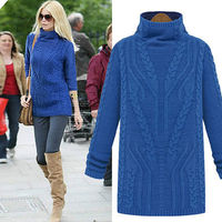 SOLID COLOR TURTLENECK CABLE KNIT SLIM FIT SWEATER PULLOVER Price:$34.99
