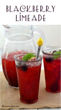 Cool off with a refreshing glass of ice cold Blackberry Limeade- made with fresh squeezed limes and fresh blackberries.