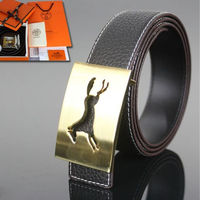 Hermes Constance Horse Belt Leather Gold Hardware In Black