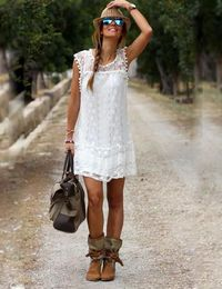 Beach Women Lace Tassel Black White Sexy Mini Dress $21.60