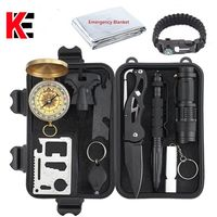 Tactical 10 in 1 survival Outdoor Camping tourism Survival Gear Kits Portable Emergency Survival Tools Whistle compass knife $55.99