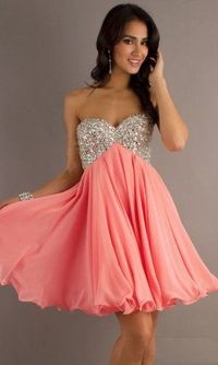 Coral Sequin Top Short Strapless Homecoming Dress