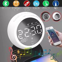 Wireless bluetooth 5.0 Music Speaker LED Display Dual Alarm Clock FM Radio Stereo Speaker with EU Power Supply