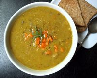 Split pea soup is always a welcome soup in my house. This is really easy to put together, tasty and  hearty enough to fill me up just right. This recipe was inspired by a member in a food group I'm associated with through social media. Thanks John f...