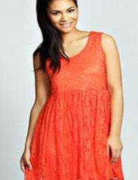 boohoo Lace Sleeveless Smock Dress - orange azz33165 Nineties revival reigns supreme with the spaghetti-strap slip dress stealing the what's hot top spot. Feminine, floaty fabrics and floral prints are our fave, with midi lengths a must-have. Go boh...