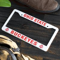 Ohio State Buckeyes White License Plate Frame Cover - NCAA Car Accessory - Slim Design $19.99