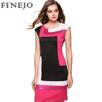 FINEJO Women Fashion Sexy Bodycon Dress Vestidos Geometrical Patchwork Contrast Color Short Sleeve O-neck Pencil Dress S-XXXL $12.46