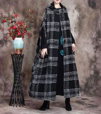 Wool Coat Cloak, Long Wool Jacket, Oversized jacket women, Grey plaid wool coat, Maxi wool Cape, Hooded Cape, Wool Hooded Cloak