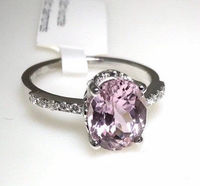 3,52 carats natural kunzite oval cut in center and 0,06 carats natural diamonds G color SI1 on the side 14 karat yellow gold ring < #jewelry #oneofkind #specialorder #customize #honest #integrity #diamond #gold #rings #weddingband #anniversary #finejew...
