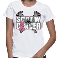 Screw Breast Cancer T-Shirt with a defiant and bold statement features two large screws and a pink ribbon. Our shirts are printed on demand on Gildan Ladies Classic Fit styles. Our designs are created by cancer survivors and advocates to make an impressio...