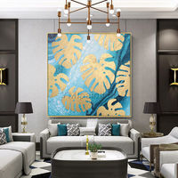 Gold art Original tree leaf acrylic paintings on Canvas Abstract extra large wall art painting Wall Pictures Home Decor cuadros abstractos $104.70