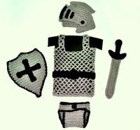 Crochet baby Knight chain maille shield sword helmet outfit $$$ pattern.