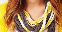 Ready to move away from the scarf trend? Update your look with a drapey necklace constructed from rounds of twisted and braided T-shirt yarn, opposite.