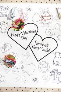 Valentines Day Decor Coloring Page Table Runner Teachers Classroom Decorations Wedding Kids Corner Crafts Children's Party Games Activities $25.88