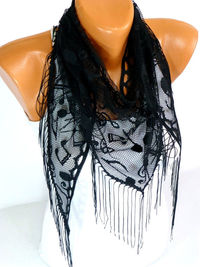 Free Shipping, Tulle Scarf, Shawl, Music Note Scarf, Musical Note pattern, Tulle Cowl Wrap, Triangle Cut Shawl, Lightweight Summer Scarf $15.00