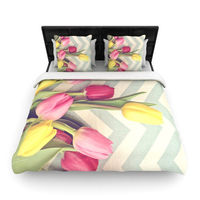 """Catherine McDonald """"Tulips and Chevrons"""" Duvet Cover 