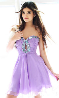 Short Purple Beaded Prom Dresses Sale
