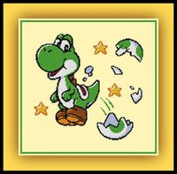 Cross stitch pattern of Yoshi from the Mario games. Thanks to Nai255 for the sprite. Download the PDF here: Yoshi Pattern Grid Size: 125W x 122H Design Area: 8.