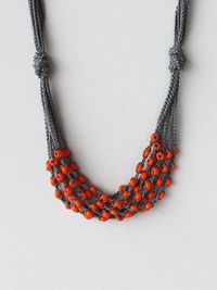 Dark grey gray cotton necklace crocheted with by boorashka on Etsy, $20.00