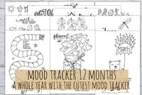 Mood Trackers 12 months pack! Bullet Journal Printable in pdf and jpg, 3 sizes