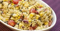 Pasta Salad with Avocado Dressing...has almost double the fiber and protien than the fat! Gotta try this!