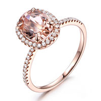 6X8MM OVAL CUT MORGANITE AND DIAMOND ENGAGEMENT RING 14K ROSE GOLD HALO PAVE STACKING BAND