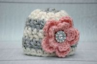 Newborn baby girl hat grey ecru pink flower hat by emmascozyattic