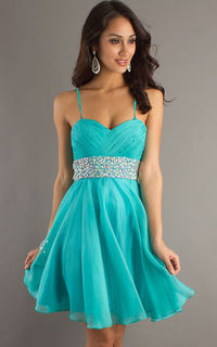 Aqua Beading Waist Dave And Johnny 7660 Short Slip Dress