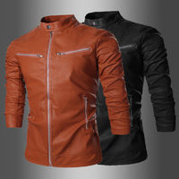 Motorcycle Leather Man Jackets Windproof Slim Fit Retro Spring Men PU Leather Jacket Casual Coat $56.08
