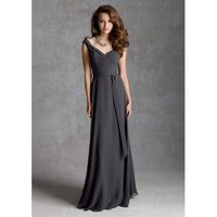 Elegant A-line Off-the-shoulder Ruching Floor-length Chiffon Bridesmaid Dresses - Dressesular.com