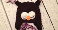 Brown and Purple Crochet Knit Owl Hat. Use their discount code today (SAVE15) for %15 off