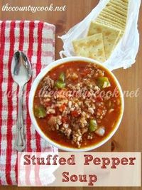 Stuffed Pepper Soup: replace the ground beef with ground turkey and white rice with brown rice and you've got yourself a nice healthy soup :3