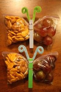 Butterfly snack bags! So simple to put a smile on your lil tikes face.
