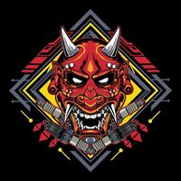 Japanese devil mask hannya with spark plug emblem | Premium Vector.